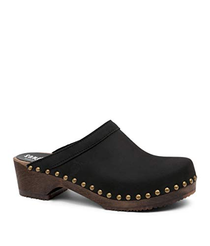Sandgrens Swedish Low Heel Wooden Clog Mules for Women, US 9-9.5 | Athens Black DK, EU 40