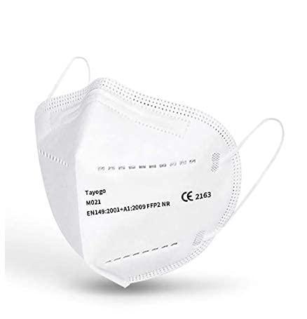 Mascarilla FPP2 / KN95, Mascarilla de Protección Personal. 5 capas. 96% De Filtración Multicapa Mascara Alta Eficiencia Filtración, Caja 20 Unidades Certificado CE 2163