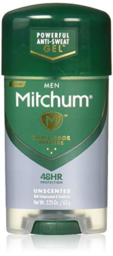 MITCHUM POWER GEL Anti-Perspirant and Deodorant UNSCENT , CLEAR 2.25 OZ, 4 Pack by Mitchum