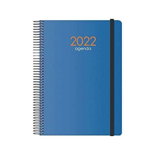 Agenda Anual 2022- Organizador Semanal - Semana Vista - Tamaño Mediano 15 x 21 cm - Modelo Syncro - Color Azul - Planificador Mensual Portable - De Anillas - Dohe