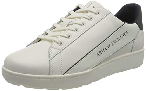 Armani Exchange Leather Plain Sneakers, Zapatillas Hombre, Optic White Green, 42 EU