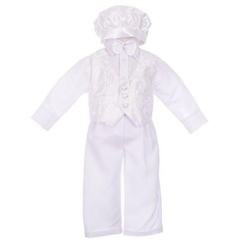 Lito Angels Baby Jungen 5 Teilig Taufbekleidung Taufanzug Taufe Festlich Anzug Bekleidungsset Formale Outfit mit Hut 12-18 Monate Weiß