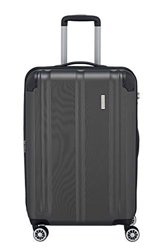 Travelite 4-Rad Koffer M mit TSA Schloss + Dehnfalte, Gepäck Serie CITY: Robuster Hartschalen Trolley mit kratzfester Oberfläche, 073048-04, 68 cm, 78 Liter (erweiterbar auf 86 L), anthrazit (grau)