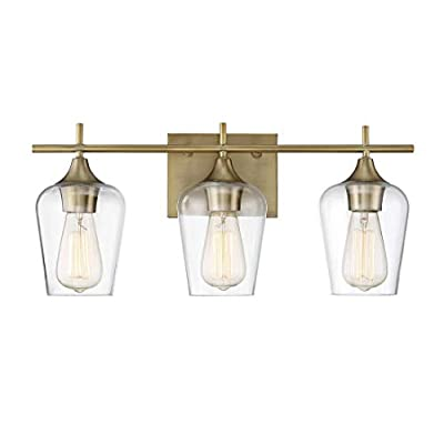"""Modern Farmhouse 3-Light Industrial Bathroom Vanity Light Over Mirror, Wall Sconce for Makeup Dressing Table, Bath Bar Clear Glass Shade, Natural Brass Finish (9.5"""" H x 20"""" W)"""