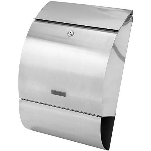 STILISTA Hochwertiger Briefkasten V2A Edelstahl Wandbriefkasten mit Zeitungsfach, Postkasten unterschiedliche Designs, Schwere Qualität (3-4 kg) - 40100002