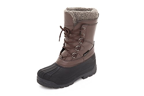 Mens Insulated Winter Snow Boots - Lace-up Closure Comfortable Weatherproof Warm Brown