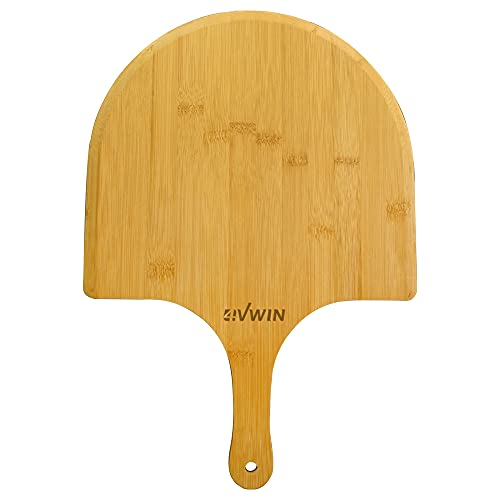 4VWIN Pizza Peel Premium Bamboo Pizza Spatula Paddle Cutting Board with Handle for Transferring & Serving