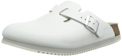 Birkenstock - Zuecos de Cuero Unisex, Color Blanco (Weiss), Talla 45