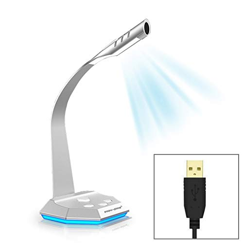 Live uitzending Microfoon K3 Desktop Omnidirectionele USB Wired Dual Mic Condenser Microfoon met LED Night Light, Compatibel met PC / Mac voor Live Broadcast, Show, KTV, etc (zilver), Omnidirectioneel, ZILVER