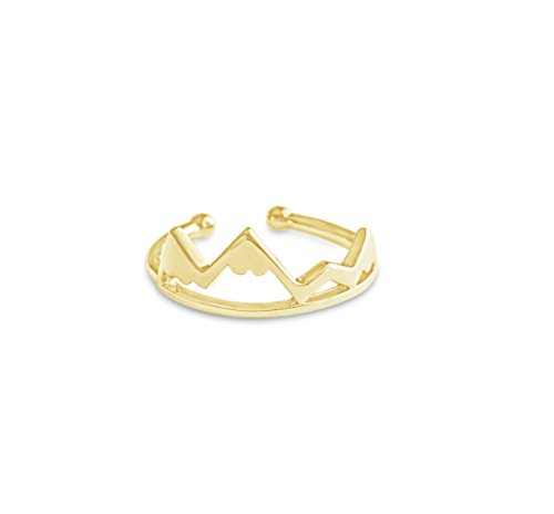 Rosa Vila Mountain Range Ring for Women, Ideal gift for Outdoor Lovers and Hikers, Adjustable Mountain Rings for Women (Gold Tone)