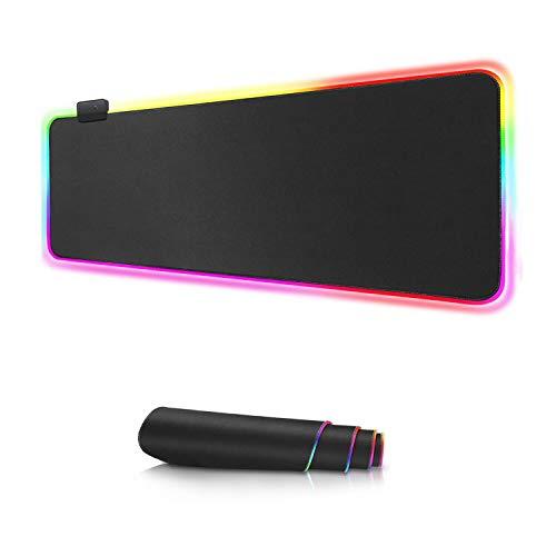 ACTGON RGB Alfombrillas de ratón Base de Goma Antideslizante Alimentado por USB...
