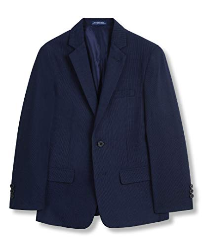 IZOD Boys' Big Patterned Blazer Jacket, Blue Mini Grid, 18