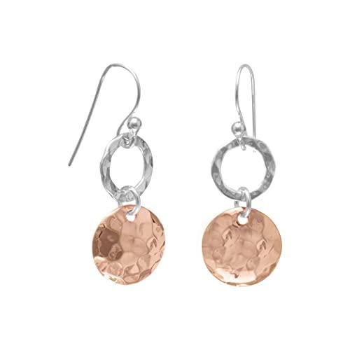 Pendientes de alambre francés de plata de ley 925 martillada con anillo abierto martillado de 14 quilates rosa Gld con destellos de disco de joyería para mujeres