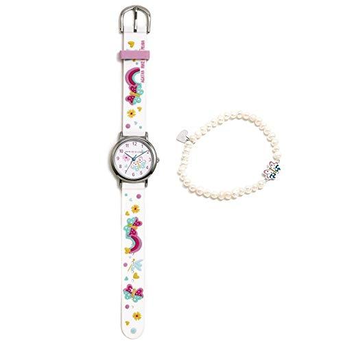 Conjunto Agatha Ruiz de la Prada AGR302 colección Fantasía niña mariposas reloj blanco pulsera plata - Modelo: AGR302