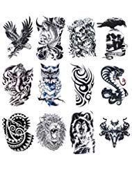 32 Sheets Temporary Tattoos Stickers, 12 Sheets Fake Body Arm Chest Shoulder Tattoos for Men with 20 Sheets Tiny Black Temporary Tattoos