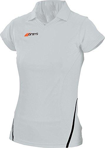 Grays - G750 Damen Hockey Hemd T-Shirt - XS, Weiß/Marineblau
