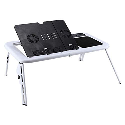 Mesa con ruedas para cama Mesas for portátiles ajustable de escritorio plegable Tabla E-cama de la tabla del USB Ventiladores de refrigeración Base de TV bandeja de soporte de la tabla PC portátil erg
