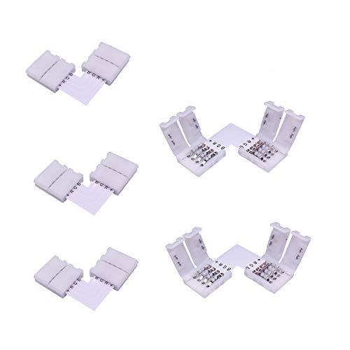 LitaElek 4 Pin Conector en Forma de L de Tira LED RGB 5050 Conector en ángulo Recto de luz de Cinta LED Conector de Esquina LED Strip Conector rápido para Tira LED SMD 5050 RGB de 10mm Ancho (5pcs)
