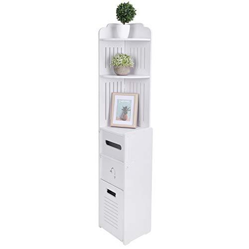 Armario de baño con columna, mueble de baño que ahorra espacio con 2 estantes abiertos y cajón, armario columna blanco, para baño, cocina y salón, 22 x 20 x 120 cm