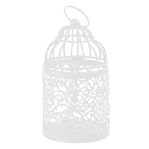 CLISPEED Pequeña Lámpara de Metal de Metal Colgante Jaula de Pájaros Linterna Vintage Centros de Mesa Decorativos para Banquete de Boda Ornamento Candelabro Blanco