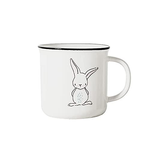 Copa de cerámica Dibujado a mano Taza de conejo taza de porcelana esmaltada lisa Taza de té para oficina y hogar, regalo de salud para cumpleaños, navidad, acción de gracias, día de padres Día de la m