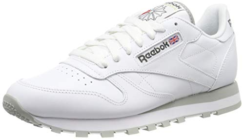 Reebok Classic Leather - Zapatillas de cuero para hombre, color blanco (int-white / lt. grey), talla 45