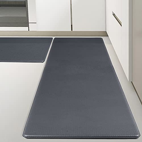 Kitsure Kitchen Rugs, [2 PCS] Cushioned Anti-Fatigue Kitchen Mat, Waterproof & Non-Slipping Kitchen Mat for Floor, Durable Kitchen Rugs and Mats for Kitchen & Laundry, Resilient Kitchen Mats, Grey