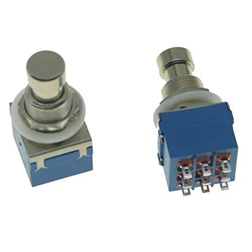 Dopro Juego de 2 interruptores de pedal para guitarra eléctrica Stomp de 9 pines 3PDT con efecto de pedal para interruptor de pie, color azul