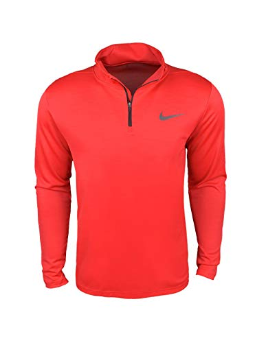 Nike Men's Breathe Dri Fit Superset Long Sleeve Quarter Zip Training Top Shirt (Red, Small)