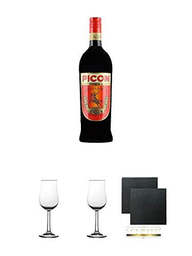 Picon - BIERE - Aperitiv 1,0 Liter + 2 Bugatti Nosing Gläser mit Eichstrich 2cl und 4cl + 2 Schiefer Glasuntersetzer eckig ca. 9,5 cm Ø