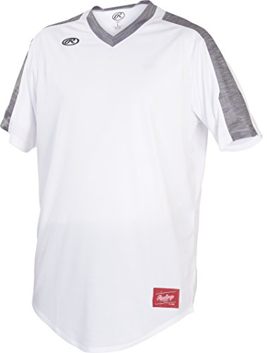 Rawlings Mens Launch Series Adult V-Neck Men's Jersey, White/Graphite, Small