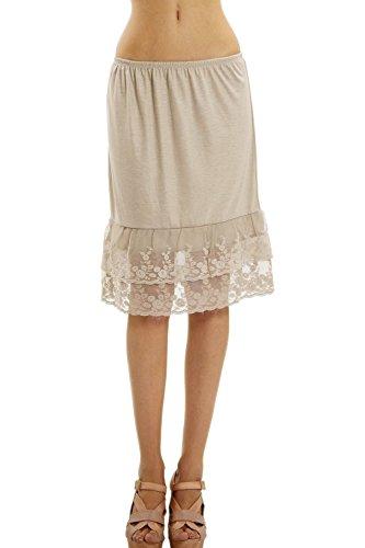 Melody  Shop Lev Women's Double Laced Half Slip/Skirt Extender, Small, Tan Mocha