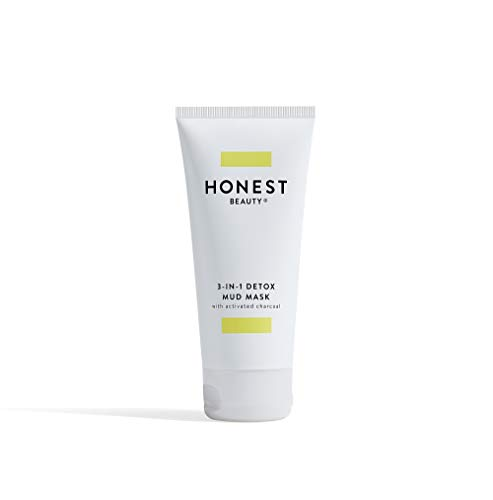 Honest Beauty 3-in-1 Detox Mud Mask With Activated Charcoal & Jeju Volcanic Ash | Paraben Free, Dermatologist Tested, Cruelty Free | Unscented, 2.8 Fl Oz