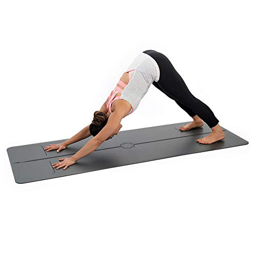 Colchoneta de Yoga Antideslizante con Línea Corporal, Fitness con Bolsa de Almacenamiento Esterilla Yoga Unisex Gruesa 180 x 68cm