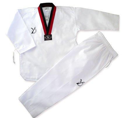 DOUBLE Y - Dobok de taekwondo DIAMOND con cuello POOM, color rojo y negro, tamaño 180