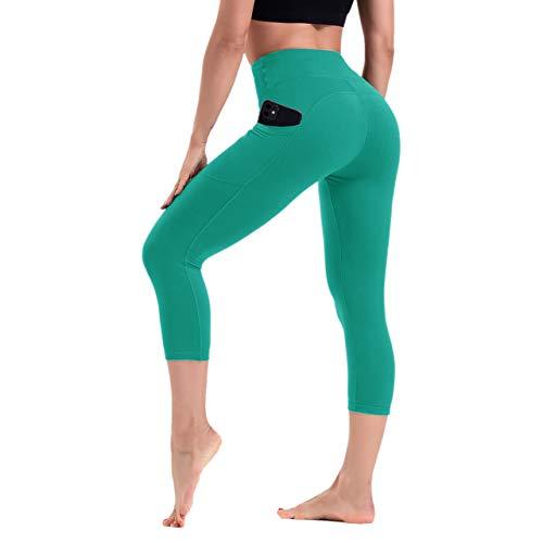 HLTPRO - Leggings de cintura alta para mujer con bolsillos para control de barriga, pantalones de entrenamiento y fitness, moda, XL, Verde azulado