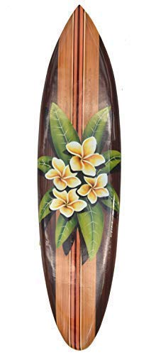 Interlifestyle Flores Tabla de Surf con Frangipani Motivo Decoración Tabla de Surf 100cm Hawai Placa Madera Placa
