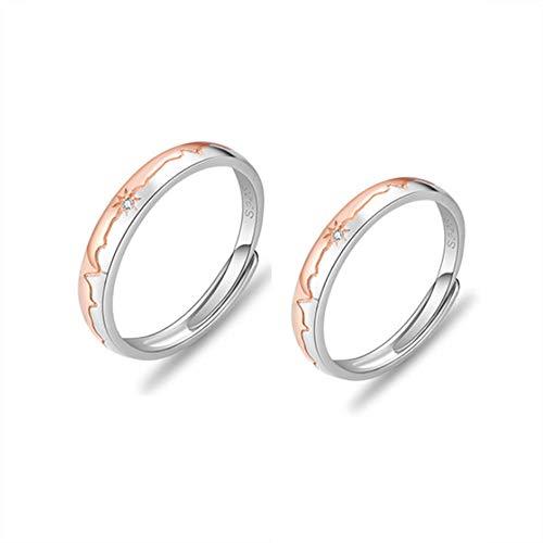 Heartbeat Anillos para parejas, plata de ley 925 japonesa ligera de lujo, anillo de pareja, grabado esmerilado y circonita AAA tamaño platino (ajustable) para amantes y hombres