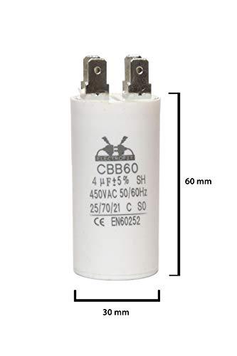 ELECTROFIT CBB60 4 uF 450V bedrijfscondensator motor start condensator voor airconditioning, compressoren en elektromotoren