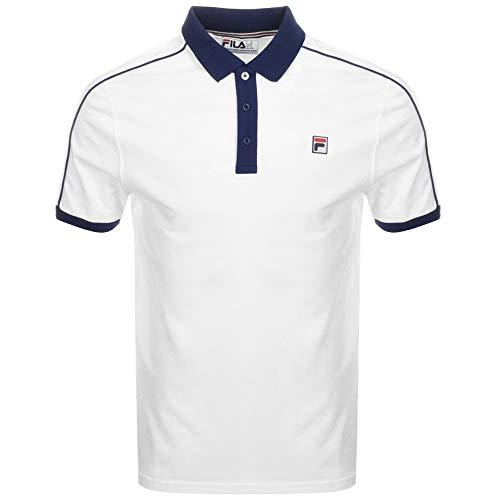 Fila Vintage Klein Polo Shirt White/Navy M