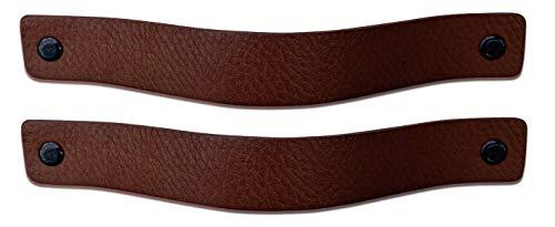 Brute Strength - Maniglie in pelle - Marrone castagna - 2 pezzi - 20 x 2,5 cm - include 3 colori di viti per maniglia in pelle per armadi da cucina - bagno - armadietti
