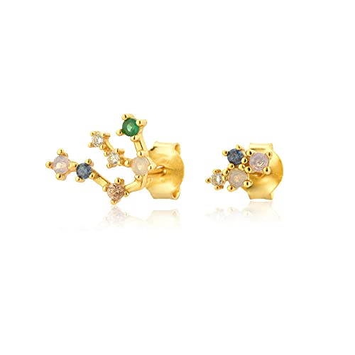 Diiya Pendientes Mujer 925 Plata Esterlina Oro Piscis Géminis Zodiacs Stud Earring Aries Piercing Pendiente Mujeres Colorful Spring Jewelry Gold 3