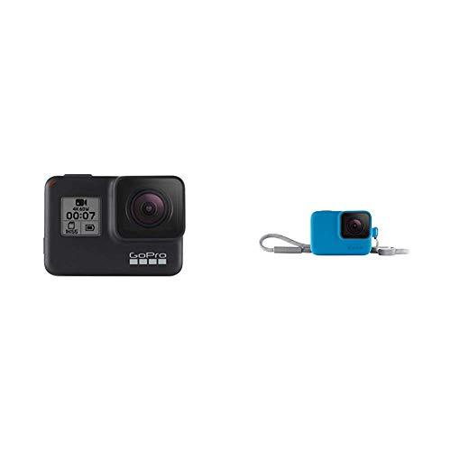 GoProHERO7Black-Cámaradeacción(sumergible hasta 10 m, pantalla táctil,vídeo4KHD,fotosde 12MP,transmisiónen directo yestabilizador) negro + Funda para cámara (incluye cordón) azul