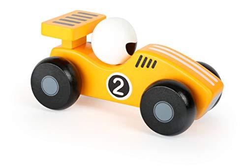 Small Foot 11132 Spielfahrzeug Gelber Flitzer aus Holz, FSC 100%-Zertifiziert, im sonnengelben Design, fördert spielerisch die Motorik Spielzeug, Mehrfarbig