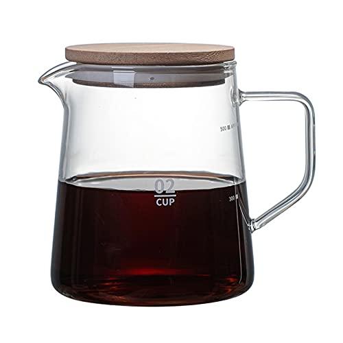 Jarra de hervidor de vidrio Jarra resistente al calor con tapa de la tapa de la tetera de la tetera de la jarra de café para café Contenedor de hoja de té caliente 30 0ML 500ML (Color : 500ml)