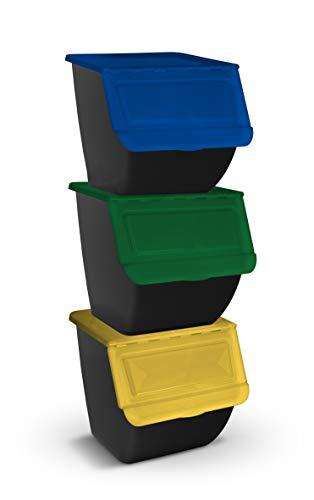 TIENDA EURASIA - Cubo de Basura para Reciclaje - Pack 3 Cubos de Basura de Cocina para Reciclar Apliables - 36L - (Papel - Vidrio - Plástico) (Negro)