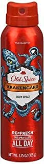 Old Spice Wild Collection Body Spray Krakengard - 3.75 oz, Pack of 3