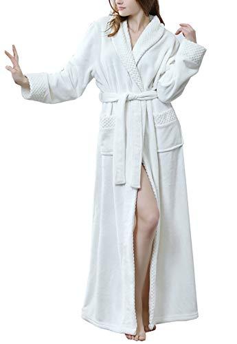 Pronghorn Vestido de Bata Larga Gruesa de Lana de Invierno para Mujer, Bata de Dormir, Ropa de Dormir Rosa Grande
