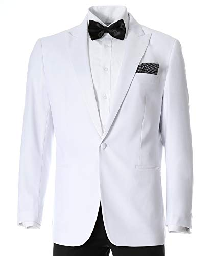 Ferrecci Men's Aura White Slim Fit Peak Lapel Tuxedo Dinner Jacket (42 Regular)