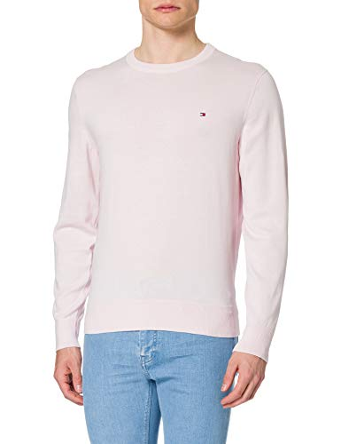 Tommy Hilfiger Organic Cotton Blend Crew Neck Suéter, Rosa Claro, XL para Hombre